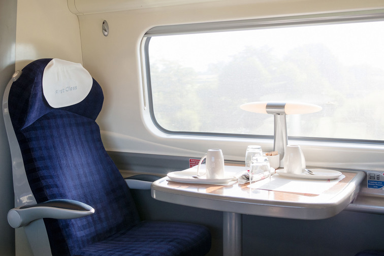 Train compartment with window