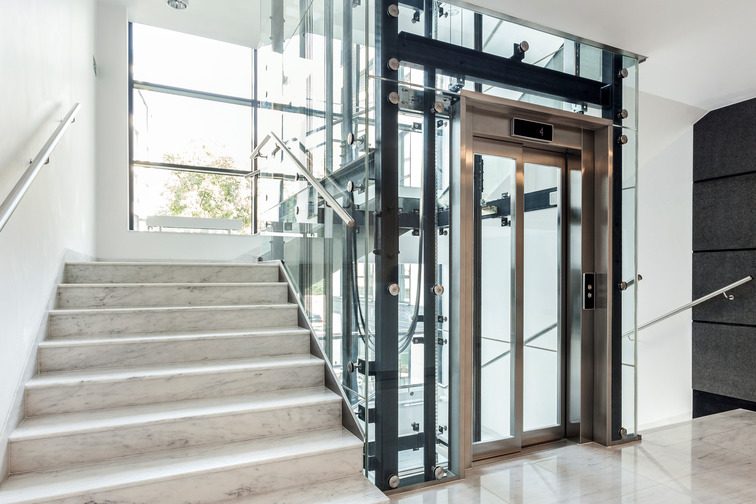 Elevator and stairs in a building