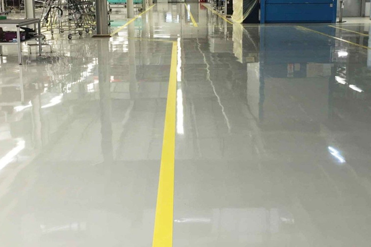 Industrial floor in a factory hall
