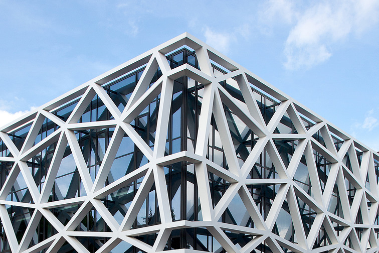 Modern building architecture with honeycomb panels