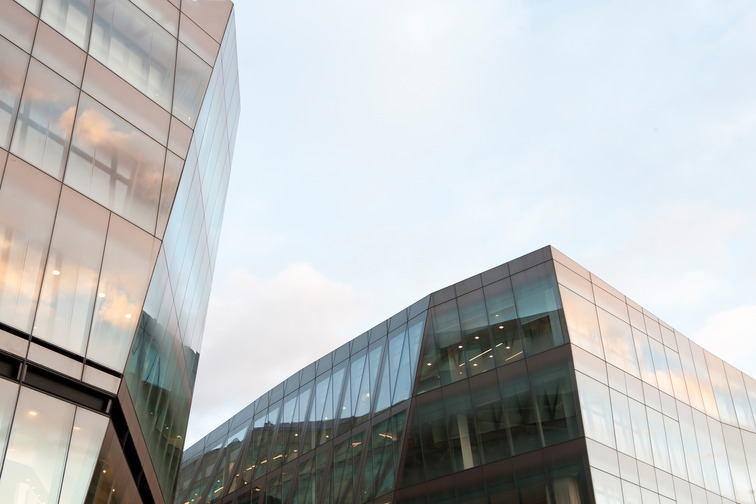 Modern buildings with glass facades