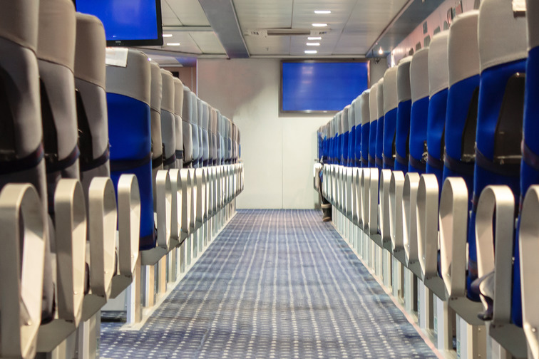 Seating rows in a room