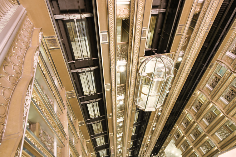 Glass elevators in a building