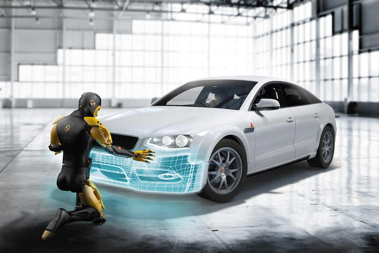 Car with dummy showing bumper repair application