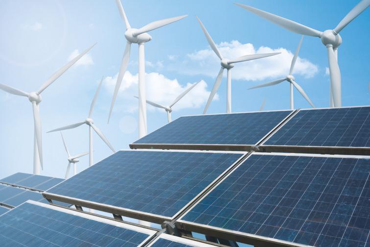 Wind and solar panel illustration