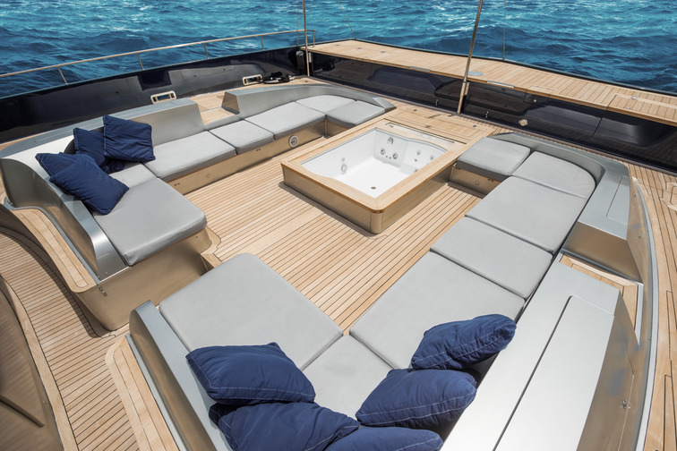 Teak deck on a leisure boat